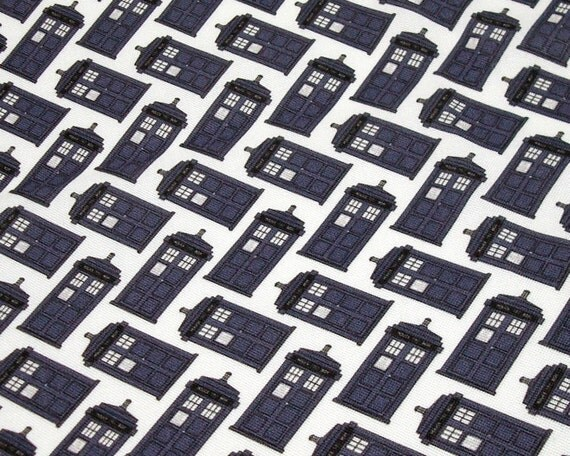 Doctor Who Fabric Fat Quarter - Tardis diagonals on white