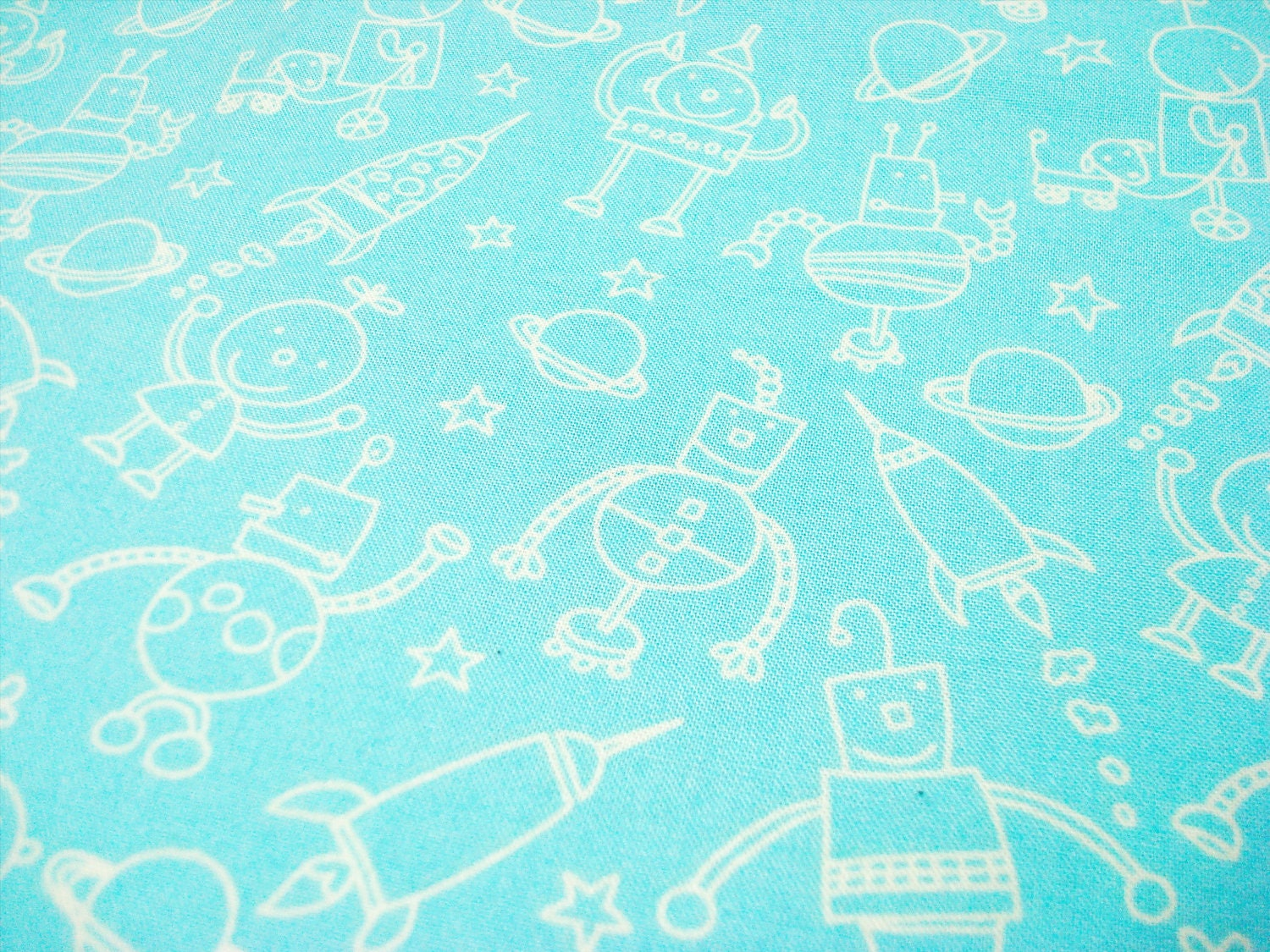 Space robots fabric quarter aquamarine alien fabric by for Alien fabric