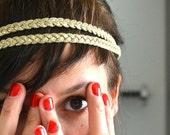 EN SOLDE Headband Double Tresses Doré Et Plumes Blanches