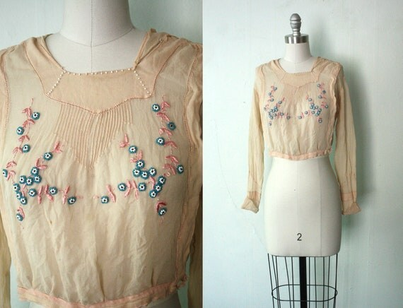 Edwardian beaded whisper pink blouse / Delicada / antique silk blouse size small