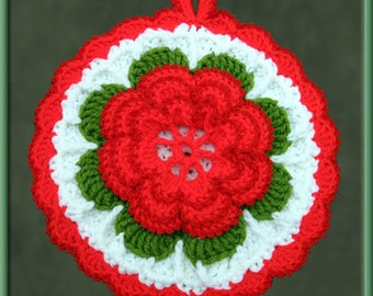 Crocheted Red Rose Potholder/Wall Art