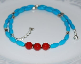 Mens Necklace, Men's Necklace, Turquoise With Bamboo Coral Necklace, Gemstone Necklace, Unisex Necklace