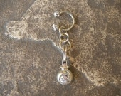 Belly Button Ring / Belly Button Jewelry in Sterling Silver w/ Cubic Zirconia - Handcrafted Artisan Belly Jewelry