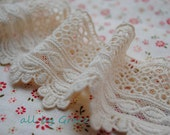Vintage Cotton Lace Trim Hollowed Out Ecru Lace 2.36 inches Wide 2 yards
