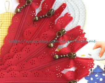 Long Zippers Scallop Lace Zippers Red Lace Zippers Clothes Purse Bags Metal Zipper 5's - 13 Inches