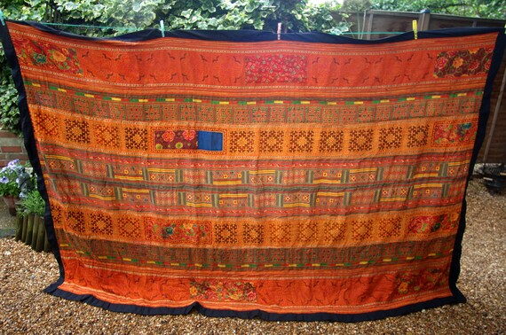 Vintage Hmong Throw, Thai Hill tribe embroidery