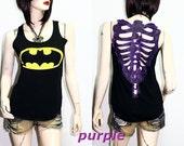 BatMan Logo Movie DIY Sexy  Skeleton Back Sleeveless Tank Top Shirt M