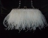 Bridal Purse - White Flapper, Art Deco, Ostrich Feathers, 1920s Style, Pearl and Rhinestone Trim - A Bijoux Bridal Chicago Signature Design