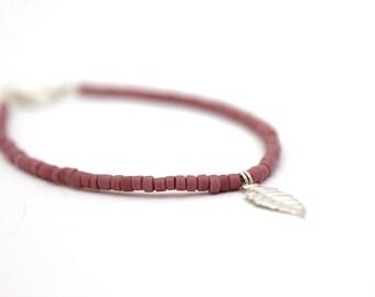 purple beaded bracelet leaf charm bracelet small bracelet vintage beads silver plated friendship bracelet
