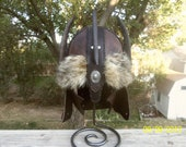 Leather Fantasy Barbarian Mongol Spiked Helmet Fur Coyote