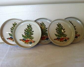 Vintage Metal Christmas Drink Coasters