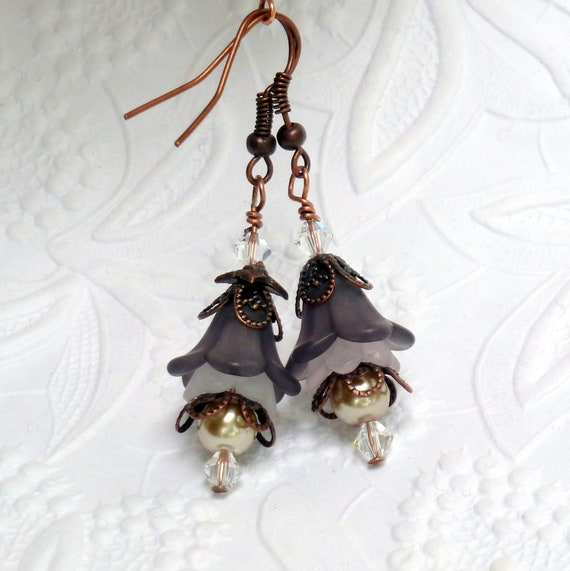 Lucite Flower Earrings - Vintage Style - Copper - Grey, White - Wedding