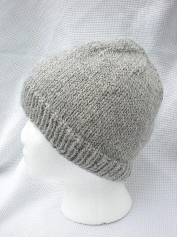Gray handknit llama and wool hat