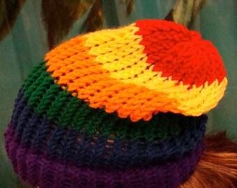 Hawaiian Rainbow Pride Beanie Knit Hat