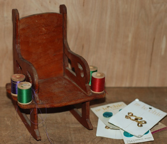 Vintage 1950's Handmade Rocking Chair Sewing Thread Holder with Wooden Spools Plus