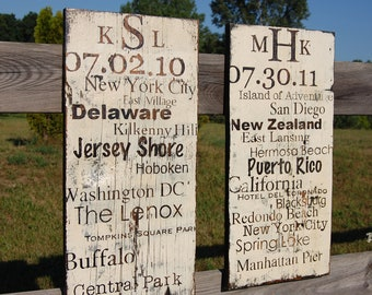 Personalized Subway Art on Barn Wood. Perfect for anniversary,house warming gift, birthday,nursery, wedding.