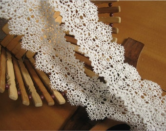 off white lace trim, bridal lace, crocheted lace trim, ivory lace trim, guipure lace trim