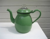 Vintage Jadeite Green Enamelware Coffee Pot with Inner Basket