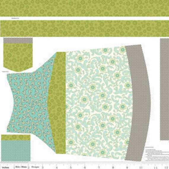 CLEARANCE...Emily Taylor Design for Riley Blake, Verona, Apron Panel in teal