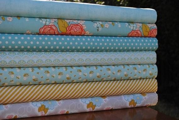 Stitch Studios for Riley Blake, Marguerite, Fat Quarter Bundle, 7 Prints, blue