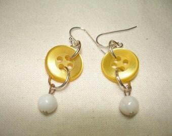 BUTTON EARRINGS - Dangle Button Earrings - YELLOW- white