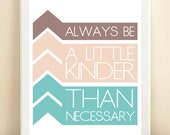 """French Connection Inspired. Chevron, Purple, Pink, & Turquoise """"A Little Kinder"""" print poster"""
