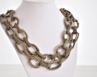Antique Gold Necklace Chunky Lightweight Chain Double Stranded