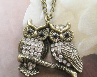 Lovely owl couple necklace (Long chain)