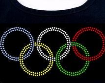 Olympic ring inspired RHINESTONE T-Shirt or tank top S M L XL 2XL bling sports competition