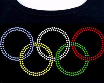 Olympic ring inspired RHINESTONE t-shirt tank top sweatshirt S M L XL 2XL bling sports competition