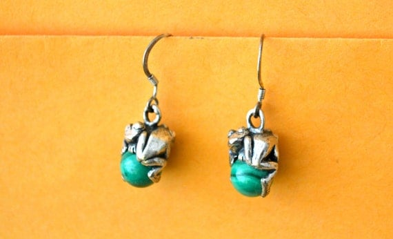 Vintage Frog EARRINGS, Malachite, Sterling Silver, Animal Earings, Shabby Chic Jewelry
