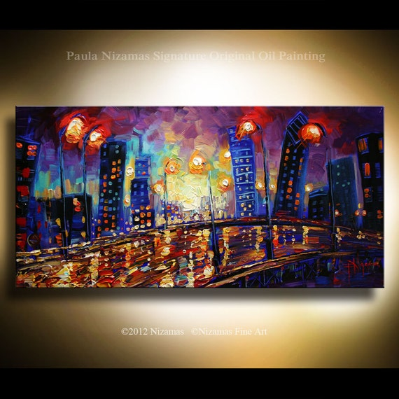 """ORIGINAL  Oil Painting, Modern Palette Knife Fine Art, Abstract Painting, The City  from  P. Nizamas Fine Art 48"""" x 24"""""""