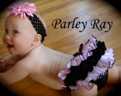 Beautiful Parley Ray Pink & Black Ruffled Baby Bloomers / Diaper Cover / Photo Props