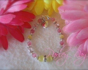 Parley Ray Custom Baby Girls Pink Lemonade Bracelet Cat Eye Beads and Swarovski Crystals with Heart Charm