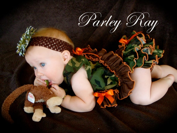 Beautiful Parley Ray Daddy's Girl Camo Pinafore Dress with Ruffled Baby Bloomers/ Diaper Cover Pageants Photo Prop Hunter Orange
