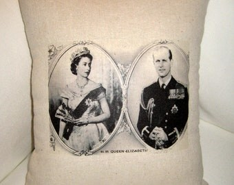 Queen Elizabeth British Monarchy Pillow, London, Jubilee, Olympics, Neutral Home Decor Inspired by Britain, England, Royal Family