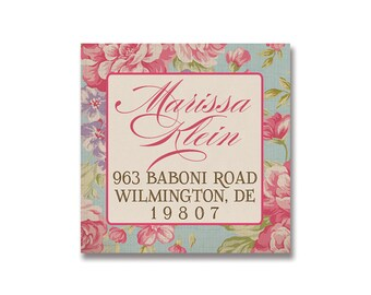 "Address Labels Stickers 1.25"" Square Printable Return Address Labels Vintage Rose DIY Digital or Printed - Jackie Collection"