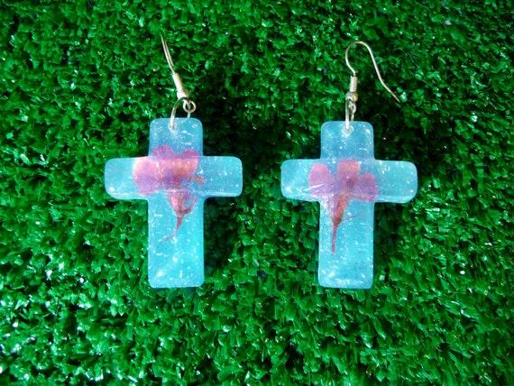 Blue Clear Glitter Cross Resin Deadstock Earrings with Pink Flowers