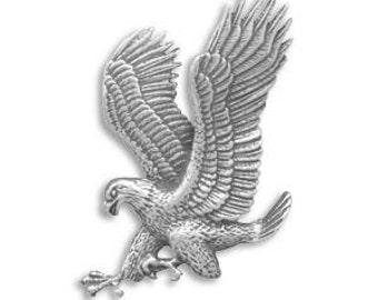 Sterling Silver MEN'S Patriotic Oxidized Landing Eagle Slide Pendant