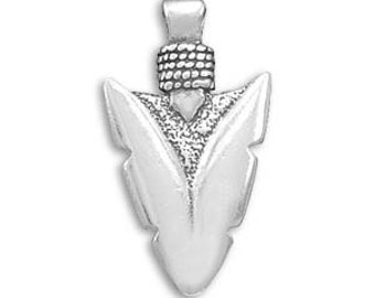 Sterling Silver MEN'S Teen Boys Oxidized Indian Arrowhead Pendant