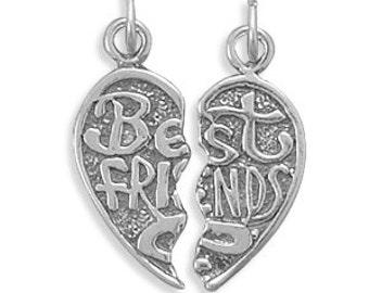 Oxidized Break Away BEST FRIENDS 925 Sterling Silver Charm or Pendant