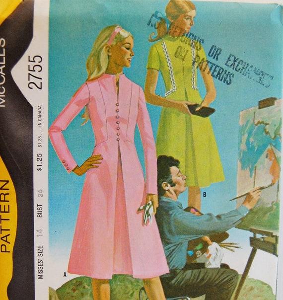 "Vintage 1971 McCall's Misses' Dress Pattern 2755 Size 14 (36"" Bust) UNCUT Jon Whitcomb"