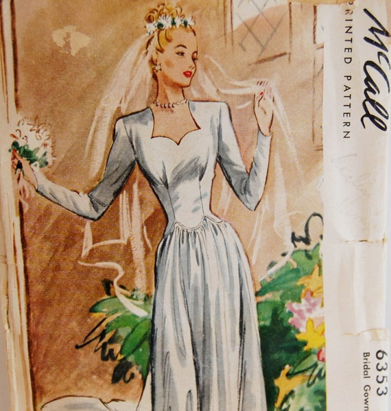 """Vintage 1940s McCall's Misses Bridal Gown Pattern 6353 Size 14 (32"""" Bust)"""