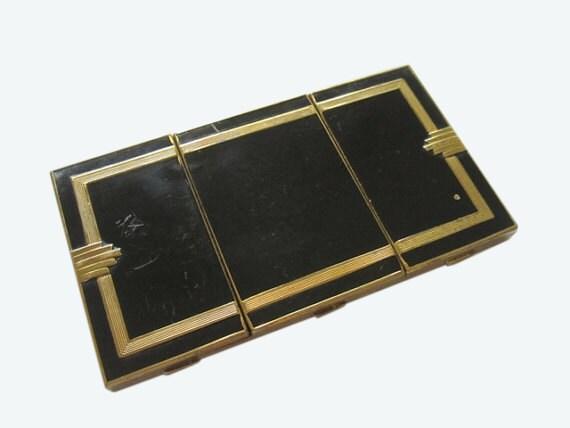 1920s 1930s Art Deco cigarette case. compact. black enamel. flapper. Boardwalk Empire. gifts for her.