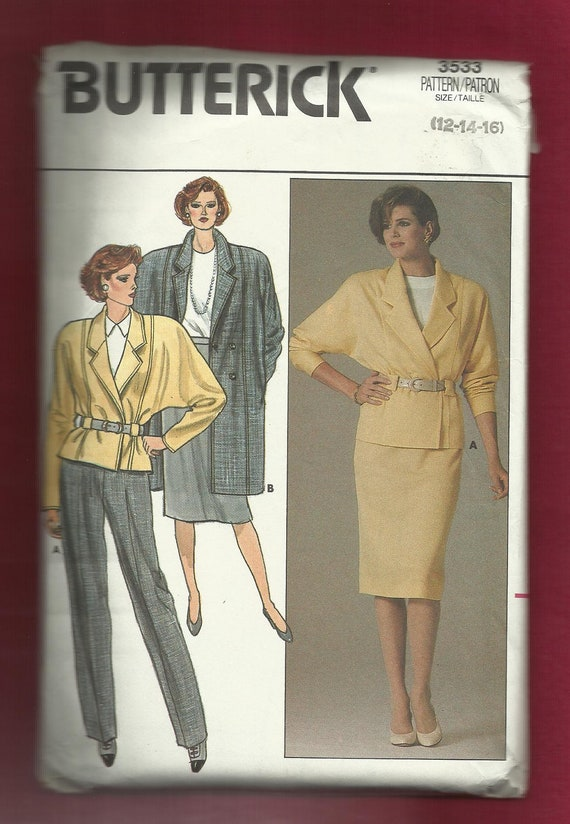 Vintage 1985 Butterick 3533 Dolman Sleeve Jacket & Coat with Shoulder Pads Notched Collar Double Breasted Skirt and Pants UNCUT Sizes 12-16