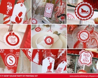 CHRISTMAS Printable Set - Let It Snow - Includes Cupcake Toppers, Bunting, Candy Wrappers, Gift Tags and more