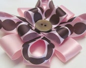 Pink and Brown Polka Dot Flower Hair Clip