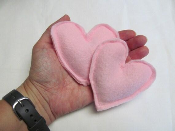 Set of two Pink Fleece Heart Handwarmers BooBoo Bags Eye Bags Lavender or Eucalyptus