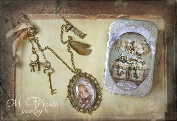 Sale 15 % Off DASHA Ooak Vintage Inspired Art Cameo Necklace by Odd Princess, Wearable Art