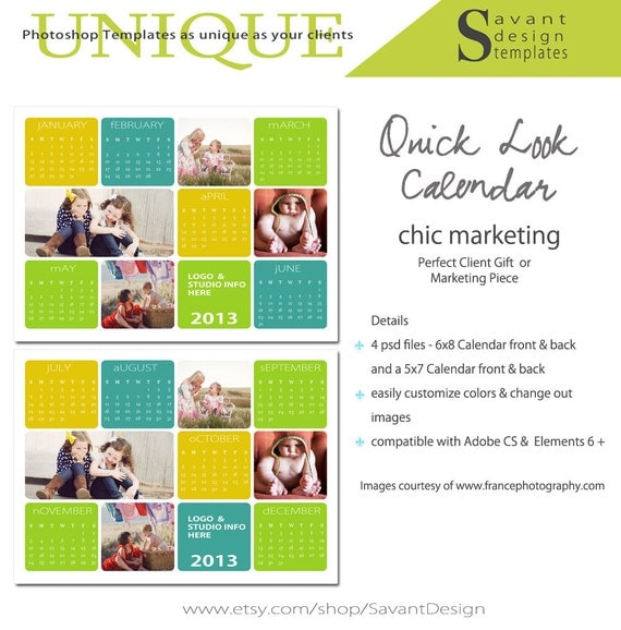 items similar to photography marketing calendar template quick look 2013 calendar 5x7 and. Black Bedroom Furniture Sets. Home Design Ideas